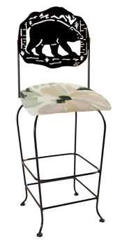 Lodge Theme Bear Silhouette Swivel Bar Stool