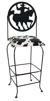 Western Theme Cowboy Silhouette Swivel Bar Stool