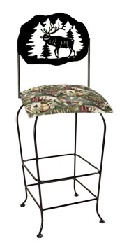 Lodge Theme Elk Silhouette Swivel Bar Stool