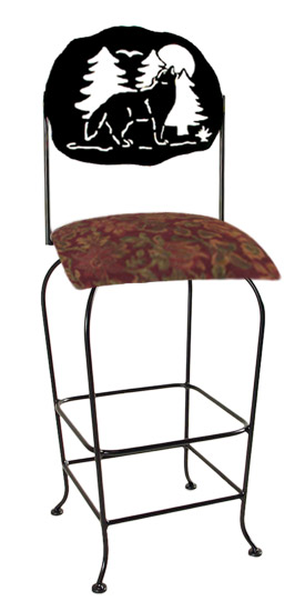 Lodge Theme Moose Silhouette Swivel Bar Stool