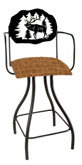 Lodge Theme Elk Silhouette Swivel Bar Stool w/Arms