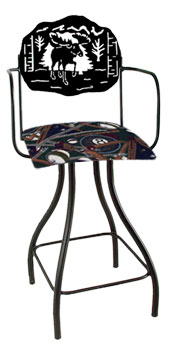 Lodge Theme Moose Silhouette Swivel Bar Stool w/Arms
