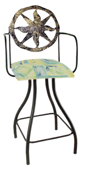 Celestial Theme Nova Silhouette Swivel Bar Stool w/Arms