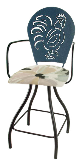 Rooster Silhouette Swivel Bar Stool w/Arms