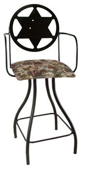 Western Theme Sheriff Silhouette Swivel Bar Stool w/Arms