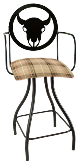 Western Theme Steer Silhouette Swivel Bar Stool w/Arms