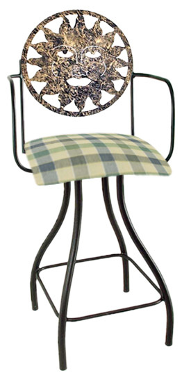 Celestial Theme Sun Silhouette Swivel Bar Stool w/Arms