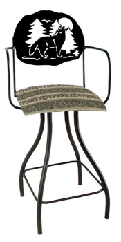 Lodge Theme Wolf Silhouette Swivel Bar Stool w/Arms
