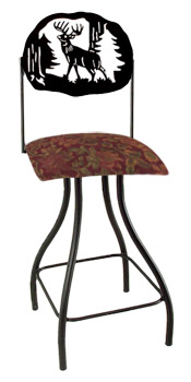 Lodge Theme Deer Silhouette Swivel Bar Stool