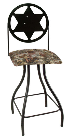 Western Theme Sheriff Silhouette Swivel Bar Stool