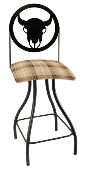 Western Theme Steer Silhouette Swivel Bar Stool