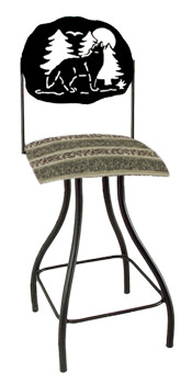 Lodge Theme Wolf Silhouette Swivel Bar Stool