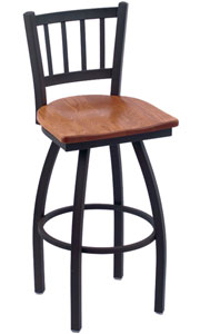 Holland Contessa Swivel Bar Stool with Wood Seat