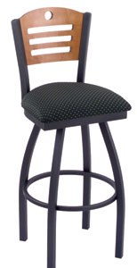 Holland Voltaire Stainless Steel Swivel Bar Stool with Fabric Seat