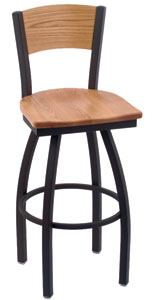 Holland Voltaire Swivel Bar Stool with Wood Seat