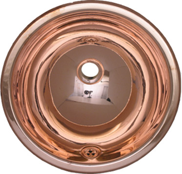 Metal Bathroom Basin: Copper Drop-in Basin