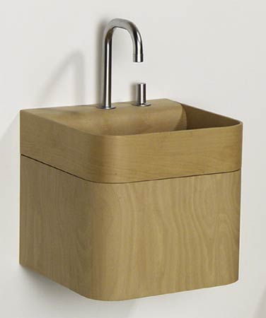 Aeri Square Wood Washbasin W/Chrome Drain
