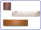 Leather and zinc handles by Hafele