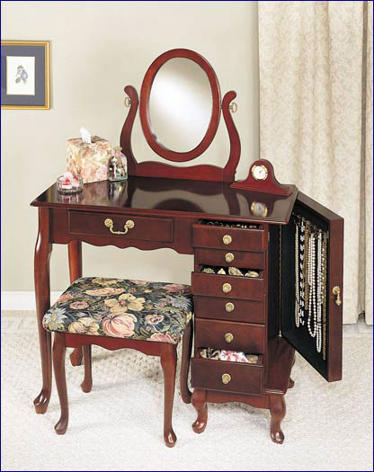 Powell - Jewelry Armoire Vanity, Heirloom Cherry
