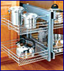 base cabinet organizers: tray dividers, towel holders, door racks, pull-out baskets and racks