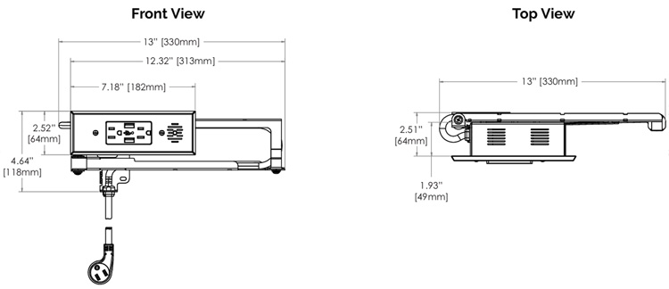 Docking Drawer Blade Series Dimensions