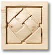 "Hand carved onlay- basket weave motif (2-7/8"") by Hafele"