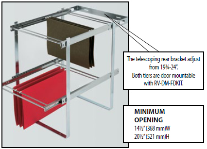 Two Tier Pull Out File Drawer System For Kitchen Or Desk Cabinet By  Rev A Shelf   Features Full Extension Ball Bearing Slides |  KitchenSource.com