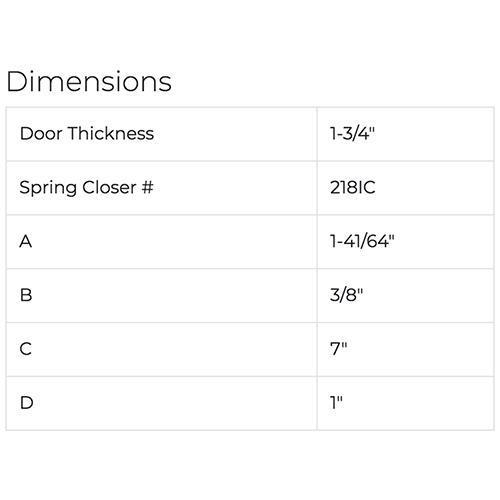 Soss Hinge Dimensions