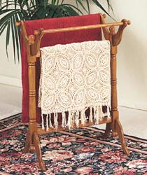 Powell Nostalgic Oak Wood Blanket Rack with Three Rails