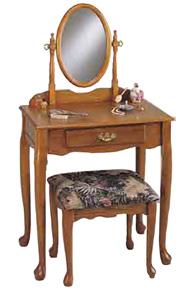 Powell Nostalgic Oak Bedroom Vanity Set With Table Mirror