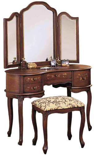 Powell Toscana Bedroom Vanity Set with Table, Mirror and Bench in Antique Caramel Finish