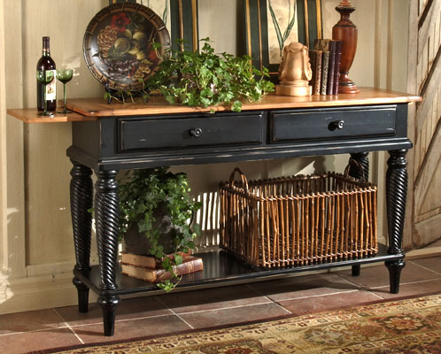 Hillsdale Furniture Wilshire Sideboard Table, Pine/Rubbed Black