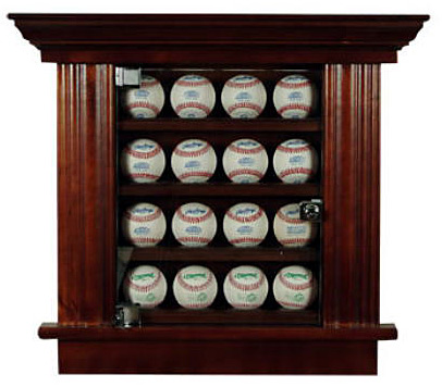 Baseball Holder Wood Cabinet by Recessed Cabinetry