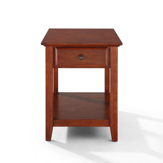 Crosley Furniture End Table With Storage Drawer in Classic Cherry Finish