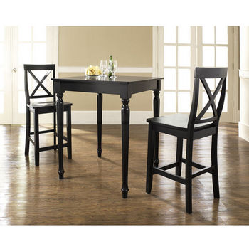 Crosley Furniture 3 Piece Pub Dining Set with Turned Leg and X-Back Stools