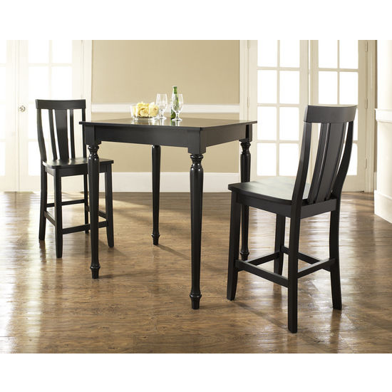 Crosley Furniture 3 Piece Pub Dining Set with Turned Leg and Shield Back Stools