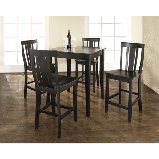 Crosley Furniture 5 Piece Pub Dining Set with Cabriole Leg and Shield Back Stools