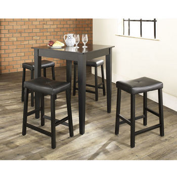 Crosley Furniture 5 Piece Pub Dining Set with Tapered Leg and Upholstered Saddle Stools