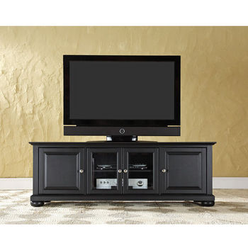"Crosley Furniture Alexandria 60"" Low Profile TV Stand in Black Finish"