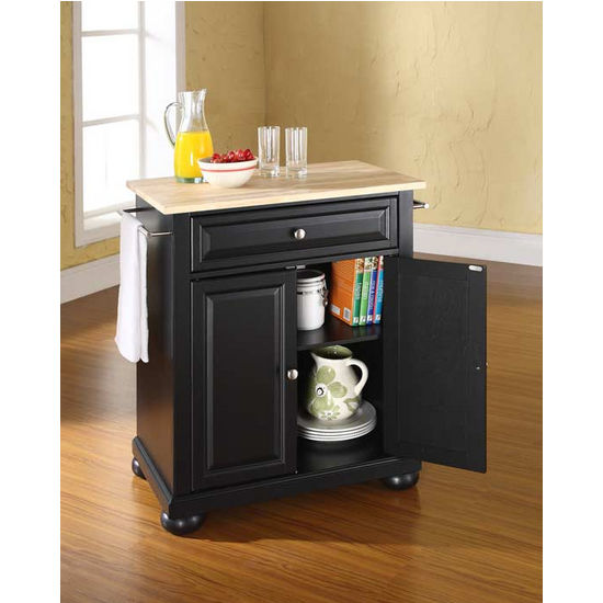 Crosley Furniture Alexandria Natural Wood Top Portable Kitchen Island in Black Finish