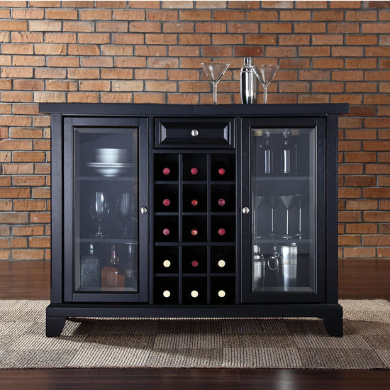 Crosley Furniture Newport Sliding Top Bar Cabinet in Black Finish