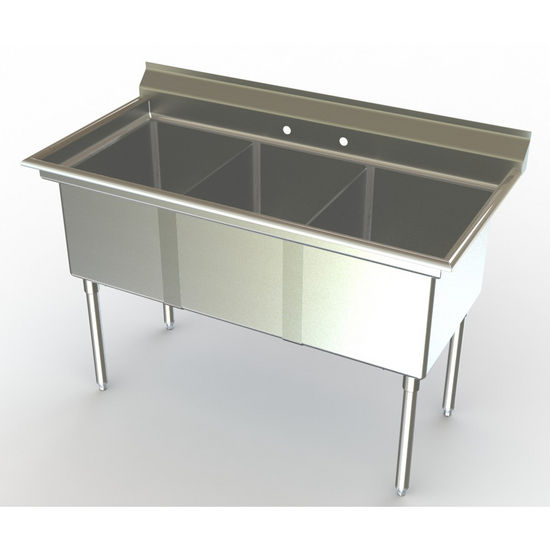 Commercial Kitchen Sinks 3 Compartment : Commercial Sinks - Aero NSF 3 Compartment Deluxe Sinks, No Drainboard ...