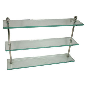 Allied Brass Mambo Collection 16'' W - 22'' W Triple Glass Shelf