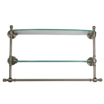 Allied Brass Retro-Dot Collection 18'' W - 24'' W Double Glass Shelf w/Towel Bar