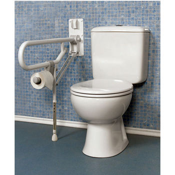 Fold-Up Double Support Grab Bar w/Adjustable Leg