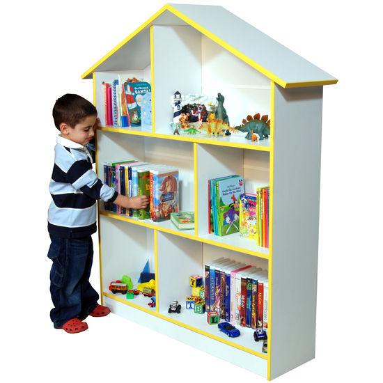 American Furnishings Kids Bookcase, 45 W x 12 D x 55 H, White/Yellow