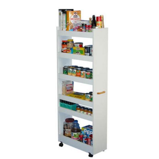 Kitchen Cart Rolling Kitchen Pantry Cabinet With Wood Storage Shelves