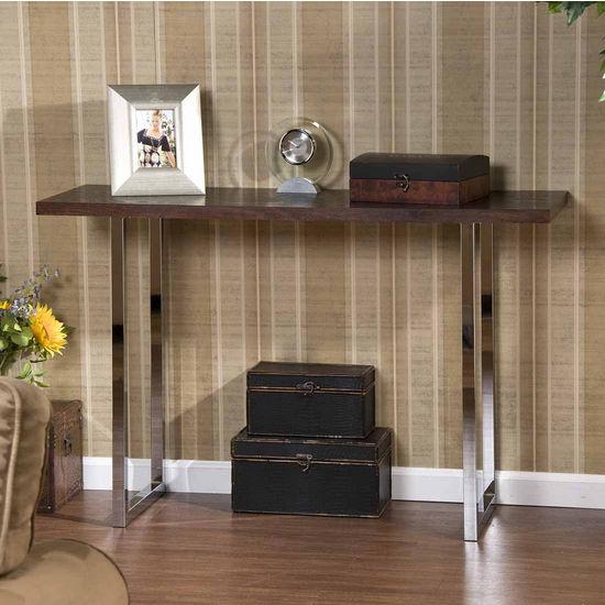 Southern Enterprises Brooklyn Espresso and Chrome Sofa Table, 47-3/4 inch W x 15-3/4 inch D x 30 inch H