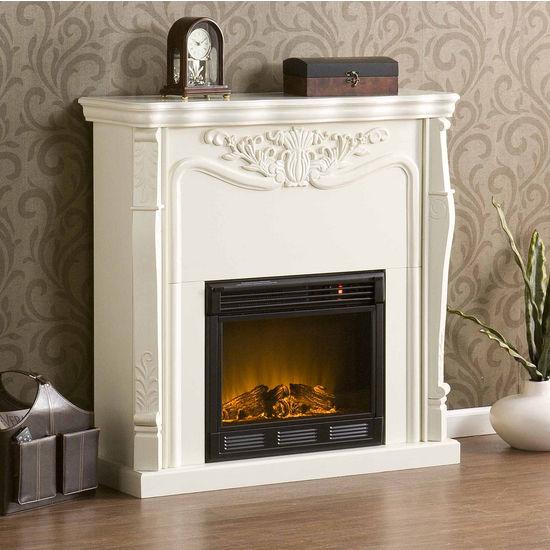 Southern Enterprises Raphael Electric Fireplace - Ivory, 42W x 14D x 42H