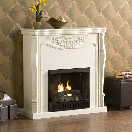 Southern Enterprises Raphael Gel Fuel Fireplace - Ivory, 42W x 14D x 42H